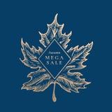 Autumn Mega Sale Abstract Vector Retro Etiket, Teken of Kaartmalplaatje Hand Getrokken de Schetsillustratie van het Esdoornblad m Royalty-vrije Illustratie