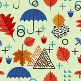 Autumn memphis kids drawing style seamless pattern background. Vector creative multicolor childish drawing theme for fashion. And print vector illustration