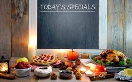 Todays specials seasonal menu. Autumn menu including turkey, pumpkin and berry pie Royalty Free Stock Image