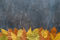 Autumn metallic gold copper leaf frame. Different fall metallic. Paint leaves on dark natural background with copy space. Horizontal mockup with autumn leaves royalty free stock image