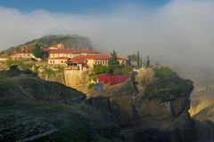 Autumn in Meteora, Greece - monastery Holy Trinity Stock Photos