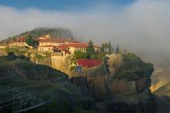 Autumn in Meteora, Greece - monastery Holy Trinity Stock Photos