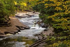 Autumn Michigan Waterfall Royalty Free Stock Images
