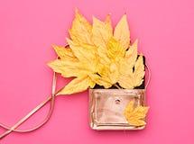 Autumn Minimal.Fashion Handbag Clutch.Fall Leaves. Royalty Free Stock Image