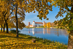 Autumn in the Mir Castle. The Mir Castle is a famous castle in Belarus Royalty Free Stock Image