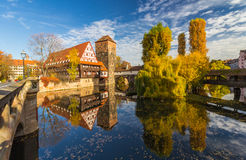 Autumn mirror scene- Nuremberg-Germany-river Pegnitz royalty free stock photos