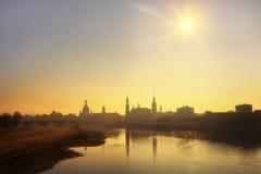 City Dresden in fog Stock Image