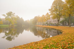 Autumn Mist. Foggy conditions in the canals of leiden, the Netherlands Royalty Free Stock Photos