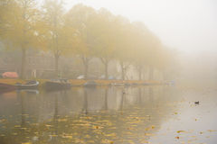 Autumn Mist. Foggy conditions in the canals of leiden, the Netherlands Royalty Free Stock Image