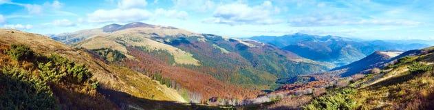 Autumn misty morning mountain panorama Stock Images