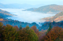 Autumn misty morning mountain valley Royalty Free Stock Photography