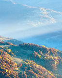 Autumn misty morning mountain view. Stock Photo