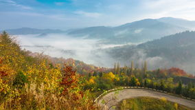 Autumn. Misty Morning in the Mountains stock video footage