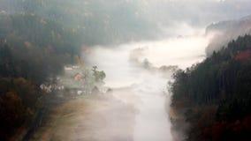 Autumn misty morning, timelapse. stock footage