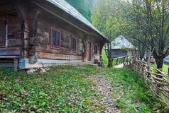 Autumn misty mountain village Royalty Free Stock Image