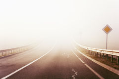 Autumn misty road Royalty Free Stock Photography