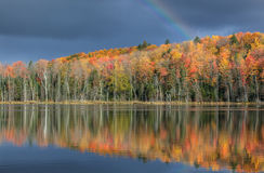 Autumn, Moccasin Lake with Rainbow Stock Photography