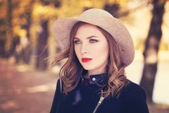 Autumn Model Woman wearing Grey Hat Stock Image
