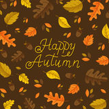 Autumn and monoline lettering. Vector autumn greeting card with autumn leaves and lettering  on dark background. Perfect for autumn holidays, Thanksgiving Day Stock Photos