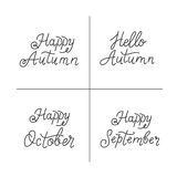 Autumn monoline lettering. Vector set of autumn monoline lettering.  Autumn inscriptions phrases in trendy linear style isolated on white background and easy to Royalty Free Stock Images