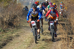 Autumn montain bike contest Royalty Free Stock Photography