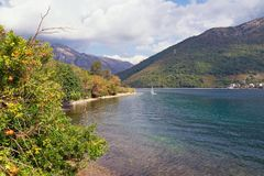 Autumn in Montenegro. Picturesque view of Bay of Kotor. Adriatic Sea stock images