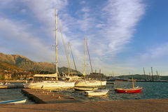Autumn in Montenegro. Small yacht marina Stock Images