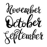3 autumn month of year. 3 autumn month of year - September, October, November, lettering. Autumn season lettering hand draw Royalty Free Stock Photo
