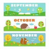 Autumn Months Calendar Flashcards Set. stock illustration