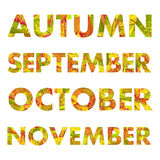 Autumn Months Names Vector Illustrations Fotos de archivo