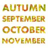 Autumn Months Names Vetora Illustrations Fotos de Stock