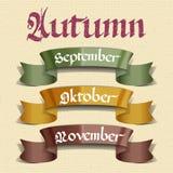 Autumn months September October November Stock Photos