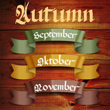 Autumn months September October November Stock Images