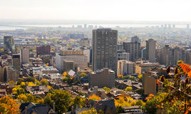 Autumn Montreal City Skyline. From Mount Royal Stock Photos