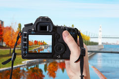 Autumn in Montreal. Reflex camera Stock Photos