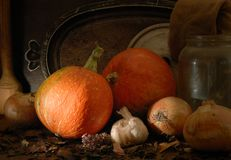 Autumn mood. Still-life with vegetables and subjects of a life stock photography