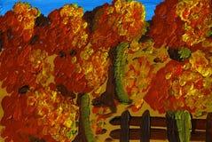 Autumn Mood - akrylmålning Arkivbild