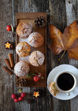 Autumn mood: apple muffins and coffee Stock Photo
