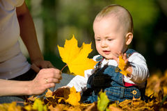 Autumn mood - baby playing with leaf stock photos