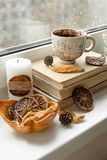 Autumn mood card. Black coffee on the window at rainy weather. B stock images