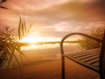 Autumn mood. Colorful  autumn sunrise  near a river Stock Photo
