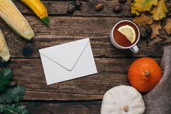 Autumn mood: letter , pumpkins and corn with yellow leaves on a wooden background stock photography