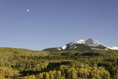 Autumn Moon Over Chair Mountain and McClure Pass Stock Images
