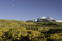 Autumn Moon over Chair Mountain and McClure Pass Royalty Free Stock Photos