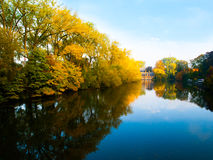 Autumn morning in Bruges at Lake of Love stock photography