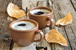 Autumn morning coffee cup Stock Images