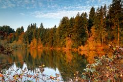 Autumn Morning with Fall Colors and Blue Skies stock photo
