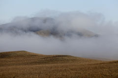 Autumn morning fog in the grasslands of near Beijing. Ups and downs of grass and obstructed by the fog Stock Image