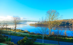 Autumn morning fog at the river  Co.Cork, Ireland. Beautiful autumn landscape morning fog over the river  Co.Cork, Ireland Europe Royalty Free Stock Images