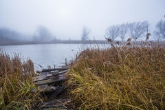 Autumn morning at a forest lake with fog and beautiful warm colors Stock Photos